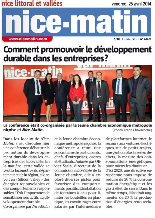 Article conférence Eco Vallée 24.04.2014